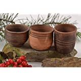 Handmade Clay Glasses Ceramic Dishware Set Of 3 Shot Glasses Clay Pottery