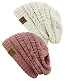 C.C Trendy Warm Chunky Soft Stretch Cable Knit Beanie Skully, 2 Pack Ivory/Mauve