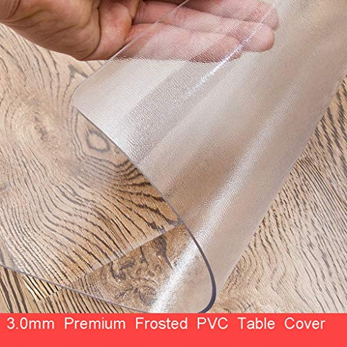 mm Premium Crystal Frosted Polyvinyl Chloride Tablecloth Protective Cover PVC Wood Furniture Protector Cover Rectangular Transparent Frosted (Color : Clear, Size : 70×120cm) ()