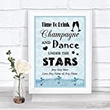 Blue Shabby Chic Vintage Drink Champagne Dance Stars Personalized Wedding Sign