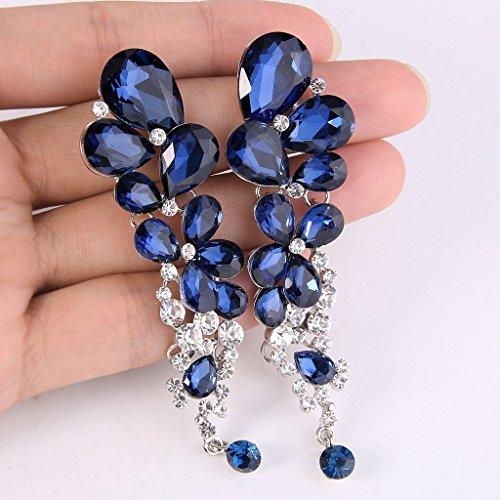 EVER FAITH® Femme Cristal Chouette Goutte d'Eaus Mariage Boucle d'Oreilles Pendentif Bleu Marine Ton d'Argent