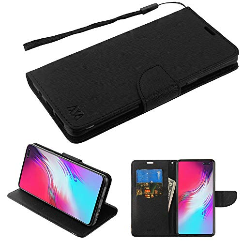 - Case+Stylus, PU Leather Fits Samsung Galaxy S10 5G MYBAT Black Pattern/Black Liner Crossgrain Fabric Wallet with Strap and Flap
