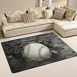 Naanle Sport Area Rug 4'x6', Baseball Polyester Area Rug Mat for Living Dining Dorm Room Bedroom Home Decorative