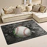 Naanle Sport Area Rug 2'x3', Baseball Polyester Area Rug Mat for Living Dining Dorm Room Bedroom Home Decorative