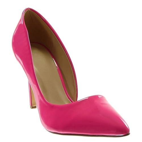 3c00e93c0e403b Angkorly - Chaussure Mode Escarpin Stiletto Decolleté Slip-on Femme Verni  Talon Haut Aiguille 9.5