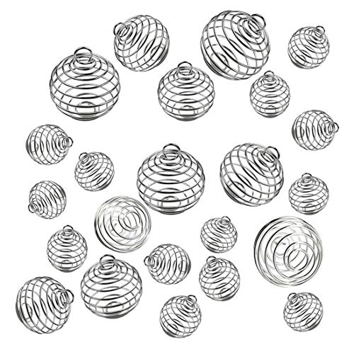 - JIALEEY Spiral Bead Cages Pendants, 30 PCs 3 Sizes Silver Plated Stone Holder Necklace Cage Pendants Findings for Jewelry Making and Crafting