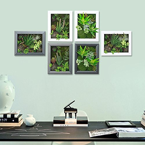 3D Artificial Flowers Wall Hanger Succulent Plants Aloe Green Leaves Grass Moss Stone with Imitation Wood Photo Frame Shape Vase Home Decoration, White Frame, 7.87 in9.84 in by Artificial Flower-Wall Hanger (Image #2)