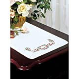 """Stamped White Dresser Scarf For Embroidery 14""""X39""""-Heart Vine"""