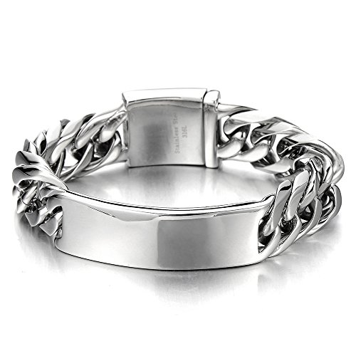 Masculine Curb Chain ID Identificaiton Bracelet for Men Stainless Steel High Polished Top Quality