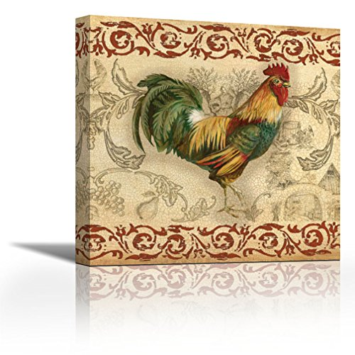 Toile Rooster I - 27 x 27 - Gallery wrap Canvas Art