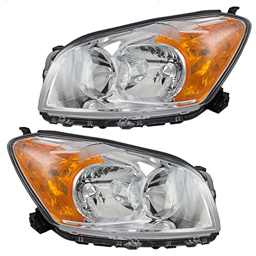 Driver and Passenger Headlights with Bright Bezels Replacement for Toyota SUV 811500R010 811100R010