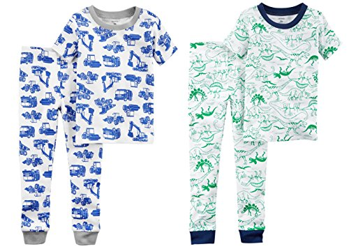 r and Little Boys 4 Pc Short Sleeve Cotton Pajamas (12 Months, Green Dino and Blue Construction Trucks) ()