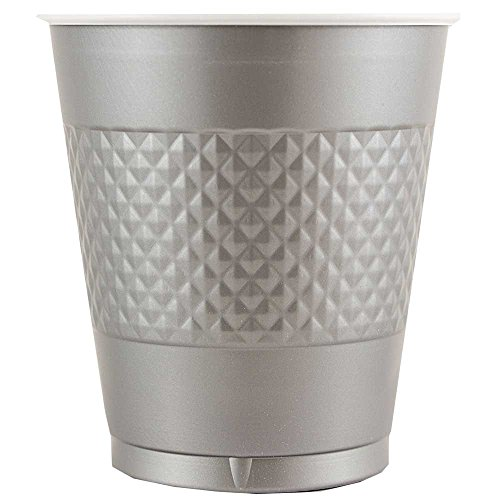 JAM Paper Plastic Cups - 12 oz - Silver - 20/pack