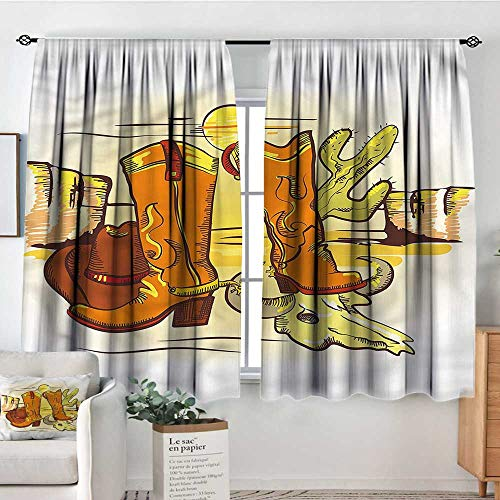 - familytaste Western,Customized Chid Curtains Cowboy Accessories Boots 52