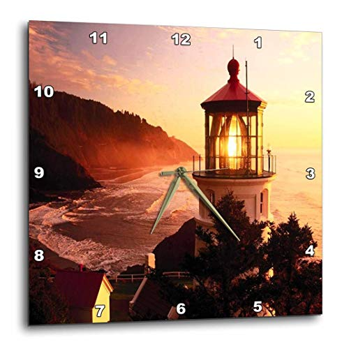 - 3dRose DPP_57611_1 Lighthouse at Devils Elbow Park Oregon Wall Clock, 10 by 10
