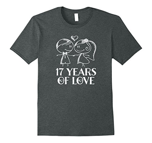 Mens 17th Anniversary Gift Couples His Hers 17 Years T-shirt 3XL Dark Heather