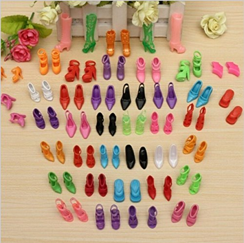 CHENGYIDA 40 Pairs Different Shoes Boots for Decor Doll Toy Girls Play House Party Xmas Gift Color Random ()
