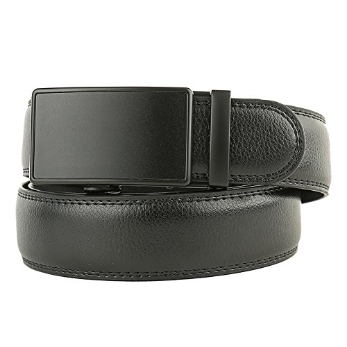 Men's Solid Buckle with Automatic Ratchet Leather Belt 35mm Wide by Guravio (Image #3)