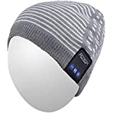Qshell Winter Bluetooth Beanie Hat Warm Soft Knit Cap with Wireless Headphone Headset Earphone Stereo Speaker Microphone Hands Free for Outdoor Sport,Compatible with Iphone Android Cell Phones - Gray