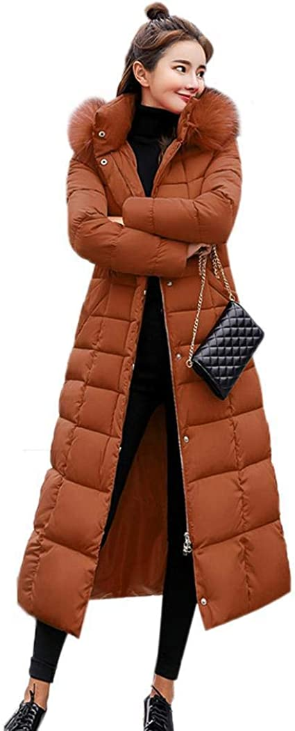 ODlover Women Removable Faux Fur Hooded Fluffy Thicken Long Down Coat Down