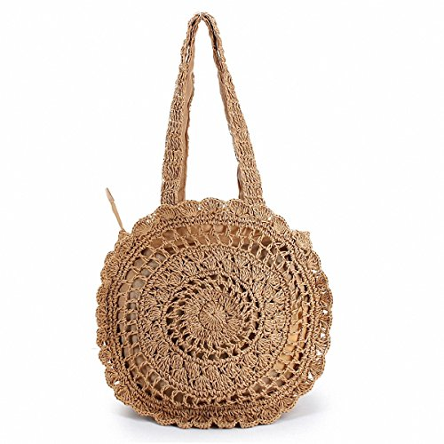 Summer Straw Handmade Handbags Women Bohemian Style Beach Round Crossbody Bag Casual Totes Bolsa Weave Hollow Out Shoulder Bags Light brown