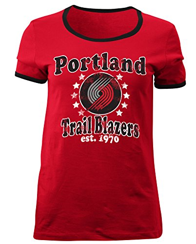 5th & Ocean NBA Portland Trail Blazers Adult Women Ladies Baby Jersey Short Sleeve Ringer Tee,M,Red
