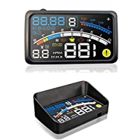 5.5 inch OBDII Car Windshield HUD Head Up Display, OBD2 II/EUOBD car HUD Head Up Display with Over speed Warning System, Projector Windshield Auto Electronic Voltage Alarm, Bracket (blue)