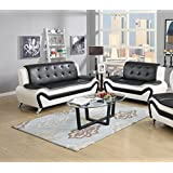 US Pride Furniture 2 Piece Modern Bonded Leather Sofa Set With Sofa And  Loveseat, White