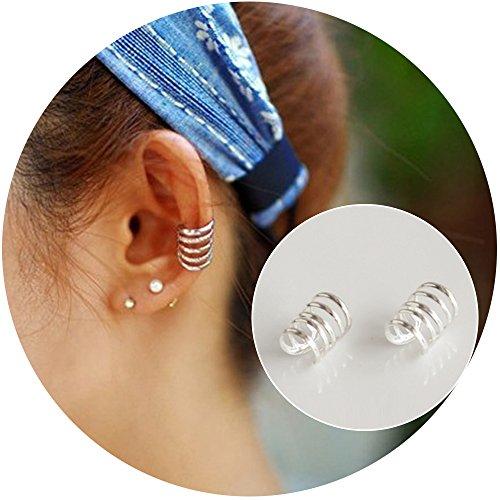 Aifeer Unisex s925 Sterling Silver Ear Cuff Wrap Clip Multi Circle Earring Non-Pierced (5 circles) (Ear Cuffs Pierced)