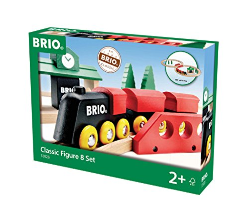 (BRIO World - 33028 Classic Figure 8 Set | 22 Piece Toy Train Set with Accessories and Wooden Tracks for Kids Age 2 and Up)