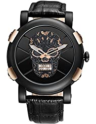 Mens Waterproof Crystal Skull Leather Strap Casual Wrist Watch - Rose Gold
