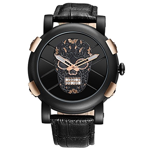 Mens Water-Resistant Skull Wrist Watch Leather Strap Casual Watch – Black, Gold, White, Rose Gold