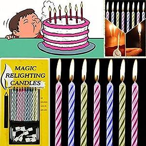 WanJ 30pcs Magic Relighting Trick Birthday Candles