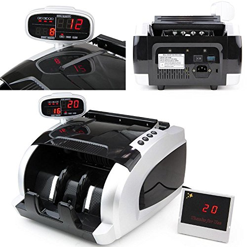 WYZworks Money Bill Counter with Ultraviolet, Magnetic and Infrared (UV/MG/IR) Counterfeit Bill Detection and external display