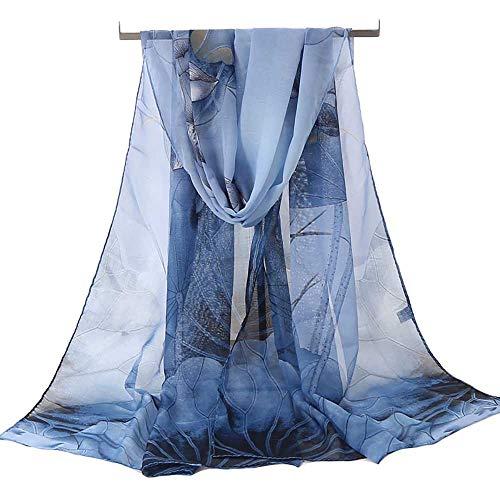 Women's Chiffon Scarf Lightweight Fashion Sheer Scarfs Shawl Wrap Scarves (Blue-A) (Scarf Chiffon Ladies)