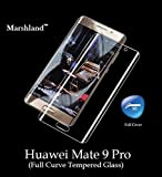 Marshland® Huawei Mate 9 Pro Tempered Glass Screen Protector 3D Curve Round Edge 0.33mm Thickness 9H Hardness Anti Explosion Bubble-Free Oleo phobic Coating