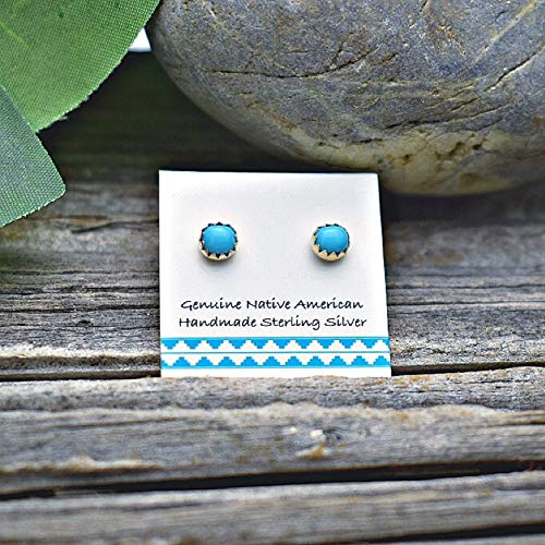 5mm Genuine Sleeping Beauty Turquoise Stud Earrings in 925 Sterling Silver, Native American Handmade in the USA, Nickle Free, Blue (Earrings Native Turquoise)