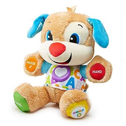 Fisher-Price FPM50 - Lernspaß Hündchen Baby Spielzeug und Plüschtier, Lernspielzeug mit Liedern und Sätzen, mitwachsende Spielstufen, Spielzeug ab 6 Monaten, deutschsprachig 1