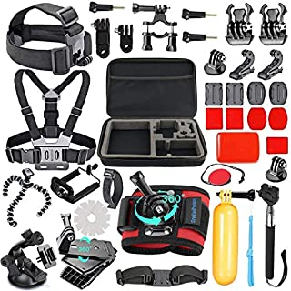 SmilePowo 42-in-1 Accessories Kit for GoPro Hero8 7 Black/GoPro Fusion/Hero6 Black /Hero5 Black/Hero Session/Hero4 3+ 2 1 Black/Hero (2018)/Silver/AKASO/Campark/APEMAN/SJCAM/Max with Car Suction
