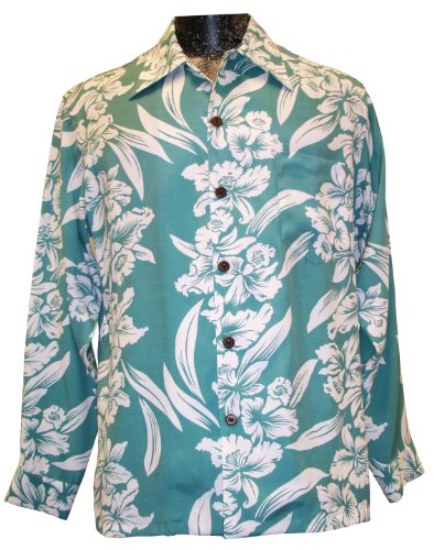 Kamehameha Mens White Orchid Panel Long Sleeve Shirt Aqua Seafoam 2X by Paradise Found