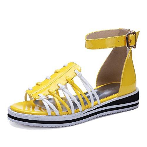 VogueZone009 Women's Open Toe Zipper Pu Assorted Color Low Heels Sandals Yellow TnWRhu