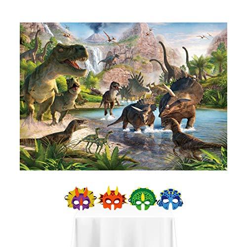 Spotlip Dinosaur Photo Backdrop and Studio Props DIY Kit.1 PCS Dinosaur Silk Background and 4 PCS Dinosaur Masks,Children Birthday Party Supplies Table Decorations