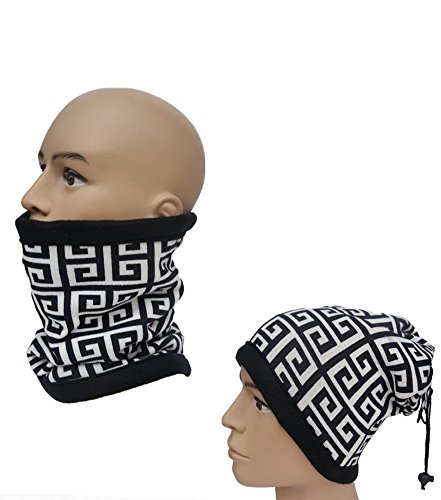 Easy Lifestyles 3 in 1 Function Unisex Polar Fleece Neck Warmers Snood Scarf Hat Ski Wear Snowboarding (Black & White)