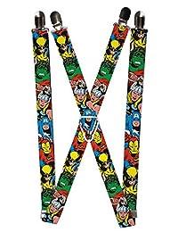 Buckle Down Men's Elastic Marvel Avengers Clip End Suspenders, Avengers