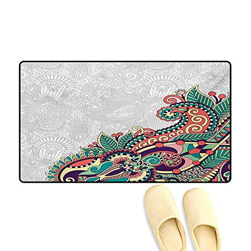 Bath Mat,Floral Background with Branches in Tribal Style Paisley Pattern Print,Door Mats for Inside Non Slip Backing,Pale Grey Jade Green,20