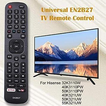 Mando a Distancia Hisense en2b27 Smart TV Repuesto 32K3110W 40K3110PW 50K3110PW 40K321UW 50K321UW 55K321UW: Amazon.es: Electrónica