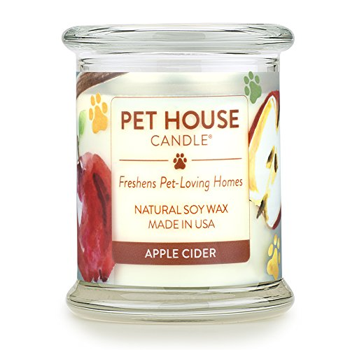 (One Fur All 100% Natural Soy Wax Candle, 20 Fragrances - Pet Odor Eliminator, 60-70 Hrs Burn Time, Non-toxic, Eco-Friendly Reusable Glass Jar Scented Candles - Pet House Candle, Apple Cider)