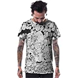 Mens Doodle Dee Doo T-Shirt Black on White Faces Graphic Print Urban Top X-Large