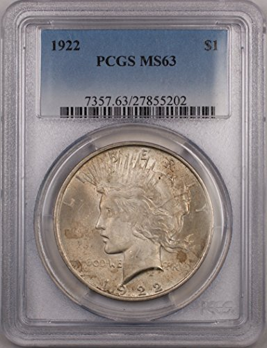 1922 Peace Silver Dollar Coin $1 PCGS MS-63 Light Toning (2B)