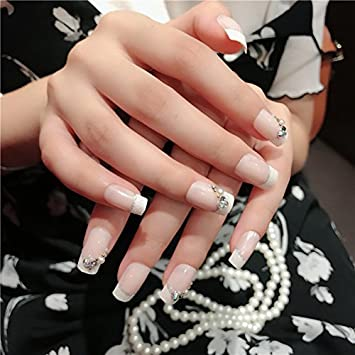 CoolNail Natural Light Pink White French False Nails Full Cover With Glitter AB Rhinestones Acrylic Nail
